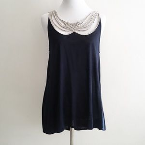 Anthropologie Leifnotes Top Braided Navy Blue XS